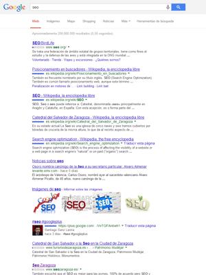 Página de resultados de Google