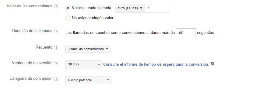 Cómo configurar las conversiones en las ext de llamada