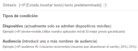 Personalización IF AdWords
